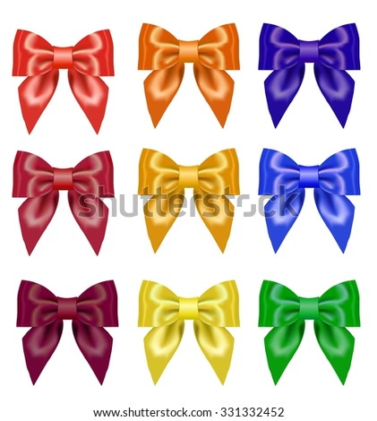 Bright colorful bows and ribbons