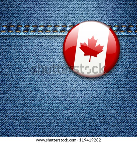 Bright Colorful Canadian Flag Badge on Denim Fabric Texture Jacket - stock vector