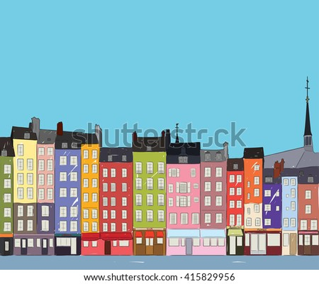 Bright colorful city houses of Honfleur near the river. Hand-drawn sketch. Flat design. - stock vector