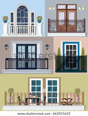 Different types doors stock images royalty free images for Types of balcony
