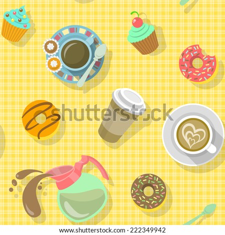 Bright colorful flat seamless pattern with cups of black coffee, cappuccino, coffee pot, donuts, sweets and paper coffee cup, ready for creating a website background, wrapping paper, fabrics and so on - stock vector