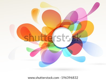 Bright colorful liquid abstract isolated decoration design element rainbow bubble with white empty circle text message space. Vector illustration - stock vector
