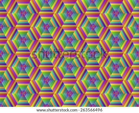 Bright, colorful, psychedelic seamless pattern of colored hexagons. - stock vector