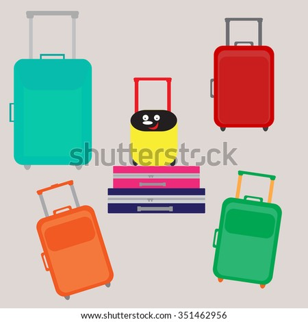 Bright colorful set of suitcases for travel