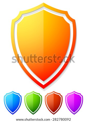 Bright, colorful shield shapes isolated on white in 5 colors. - stock vector