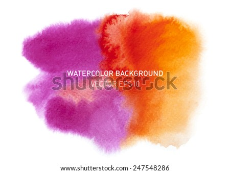 Bright colorful watercolor blot for text. Rainbow hand drawn design elements. Vector illustration. - stock vector