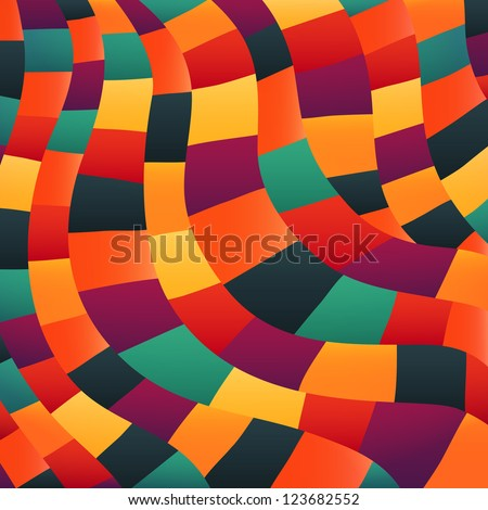 Bright colors mosaic pattern, vector illustration looks like patchwork or stained-glass window.Abstract pattern with geometric motifs. - stock vector