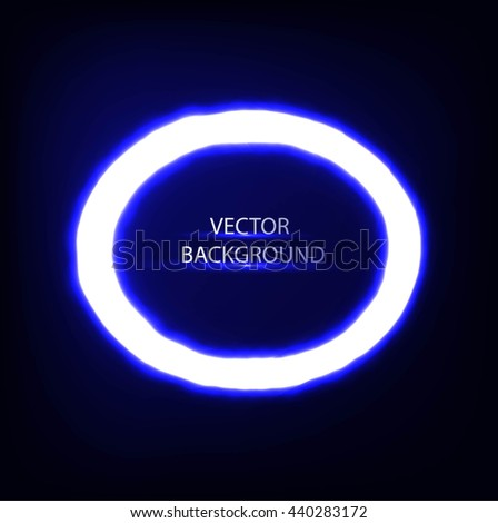 Bright colors shining neon blue circle lights. Vector  round frame,banner..  - stock vector