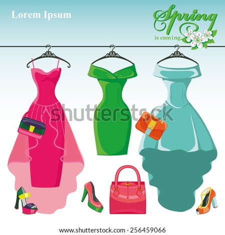 Bright composition of three female cocktail party dresses hanging on the hanger.Spring is coming.Accessories set handbag and high heel shoes.Fashion  Vector illustration.Room for text - stock vector