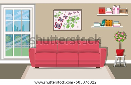 Bright Cozy Living Room Interior Design Stock Vector 585376322 ...