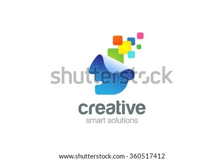 Bright Creative ideas Think Head Logo design vector template. Inspire Brainstorm Logotype. Brainstorming concept. Thinking man icon. - stock vector