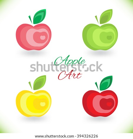 Bright creative juicy, ripe, delicious red apple Flat Icon for web, design, restaurant, advertising, organic products, farm. Vector illustration isolated on white - stock vector