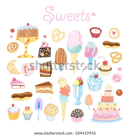 bright delicious set of different sweets on a white background  - stock vector