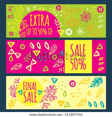 Bright design for your sales, discounts and promotions. Hand drawn style. It can be used for banners, flyers, outdoor printing, price tags. - stock vector