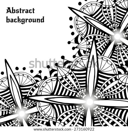 Bright doodle abstract vector backdrop. Decorative futuristic flower frame. Template border design for card or other decor element . - stock vector