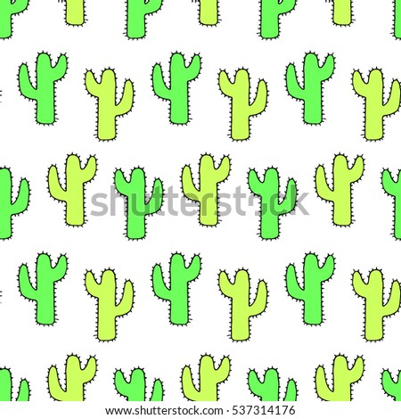 Bright doodles cactus. Vector seamless hand drawn pattern.