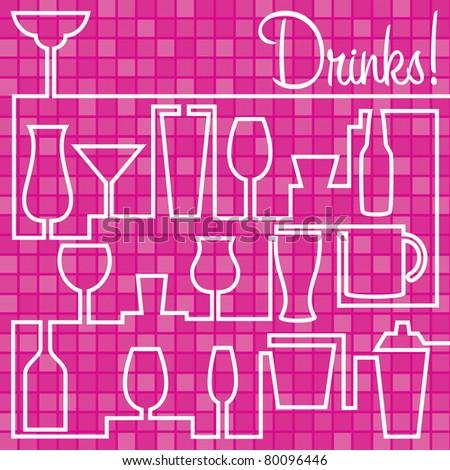 Bright Drinks Card in vector format. - stock vector