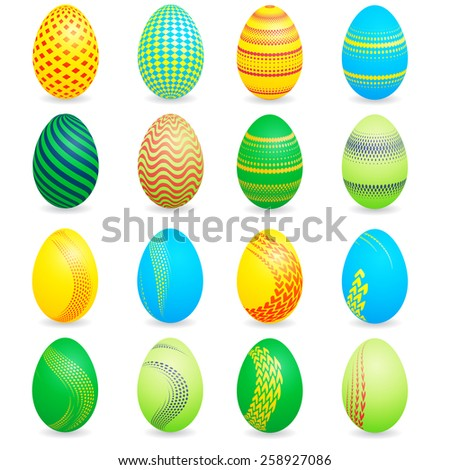 Bright Easter Eggs Collection . Vector Unusual Easter Eggs Set .   - stock vector