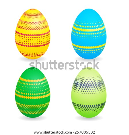 Bright Easter Eggs Collection . Vector Unusual Easter Eggs Set with Halftone Dots .  - stock vector