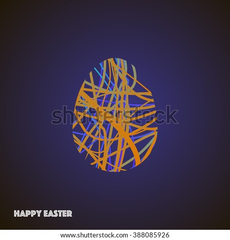 Bright egg with colored lines isolated on dark background. Textured form with geometry elements, polygonal egg shape. Stock vector.