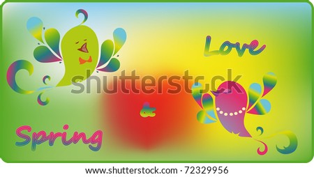 Bright enamoured birds sing a spring song - stock vector