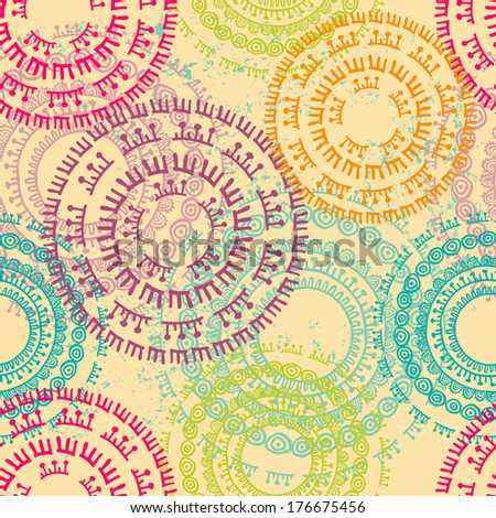 Bright ethnic seamless pattern. All vintage wear located on a separate layer. All elements of the pattern are conveniently grouped and easily editable - stock vector