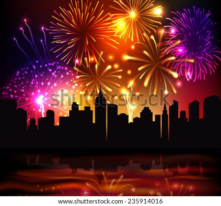 Bright festive fireworks with modern city skyscrapers at night background vector illustration - stock vector