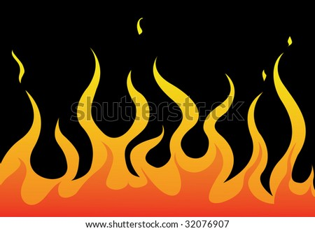 Bright flame on black background - stock vector