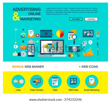 Bright flat web banner template design with outline icons of online marketing promotion, digital advertising research, SMM campaign. Vector illustration business concept for websites, infographics.