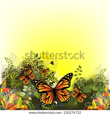 Bright floral abstraction with butterflies. Vector  - stock vector
