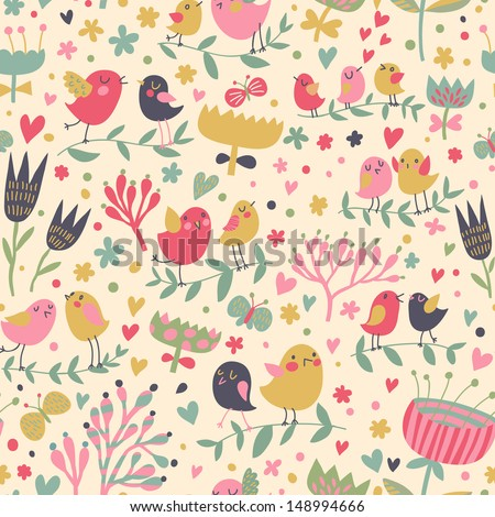 Bright floral romantic seamless pattern in vector. Seamless pattern can be used for wallpapers, pattern fills, web page backgrounds,surface textures. Gorgeous seamless floral background - stock vector