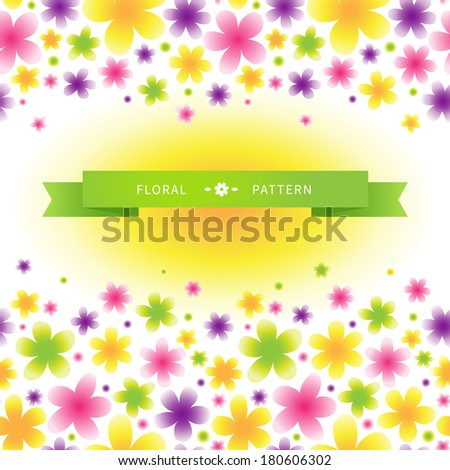 Bright floral seamless pattern on light background. Vector background. Place for text. It can be used for decorating of invitations, cards, wallpaper, pattern fills, web page, surface textures.
