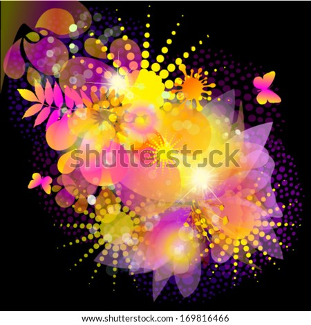 Bright flower abstraction on a black background. Vector  - stock vector