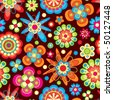 bright flowers in floral pattern - stock photo