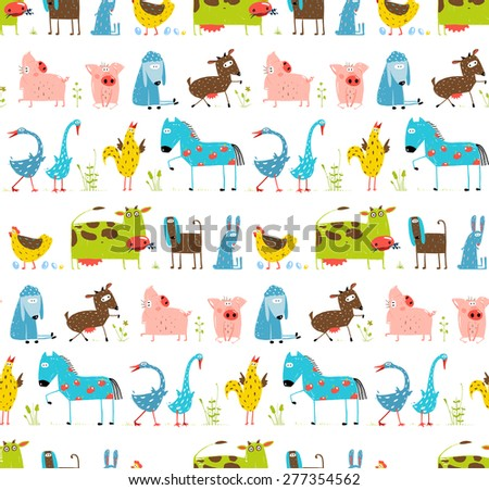 Bright Fun Cartoon Farm Domestic Animals Seamless Background. Countryside amusing baby animals pattern for children. Vector EPS10. - stock vector