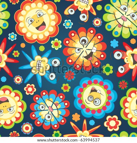 bright fun flowers for children in pattern - stock vector