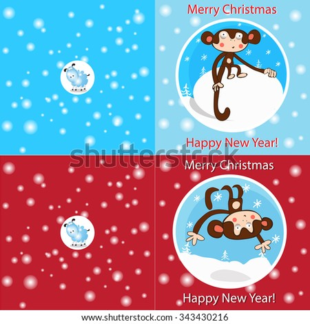 bright funny Christmas cards with monkeys and sheep - stock vector