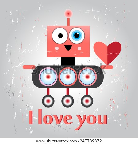 bright funny graphic love with a robot