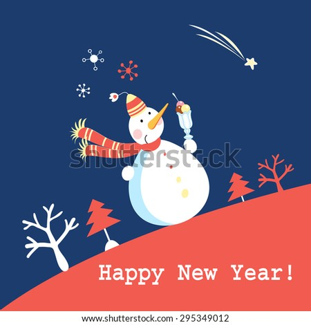 bright funny greeting card with a snowman on a blue background with snowflakes