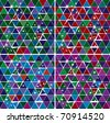 Bright Gem triangle decorative background vector seamless pattern EPS-8 set - stock vector