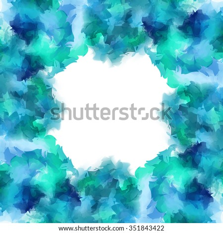 Bright gentle turquoise rough square frame of isolated watercolor stains. - stock vector