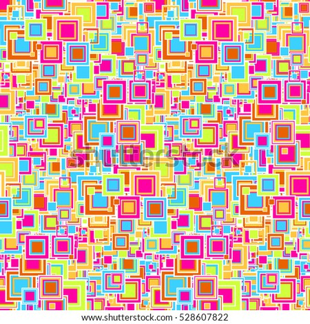 Bright geometric seamless pattern. The squares of different sizes and colors. Useful as design element for texture and artistic compositions.