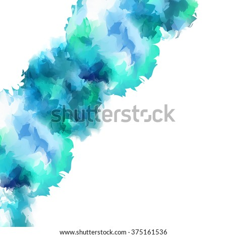 Bright, going from the bottom left to the upper right corner, the swirling vortex of gentle turquoise watercolor flow of spot isolated on white background.