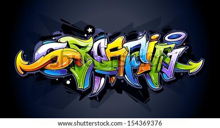Bright graffiti lettering on dark background. Wild style graffiti letters. Vector illustration. - stock vector