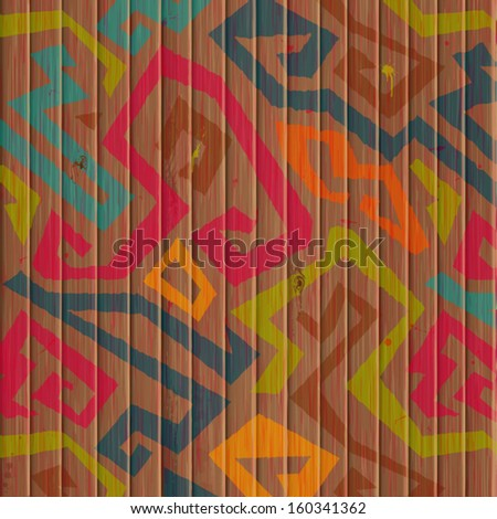 Bright graffiti with grunge effect  & Wooden plank background. Realistic wood texture.Vector illustration.  - stock vector