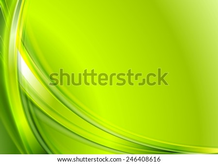 Bright green abstract wavy background. Vector design - stock vector