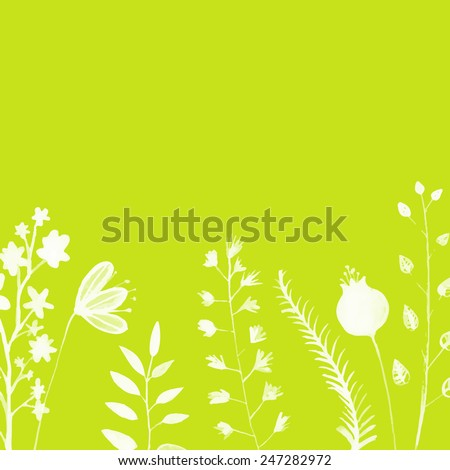 Bright green background with hand painted white plants, twigs and flowers. Vector backdrop for seasonal sales, promo, announcements, etc. - stock vector