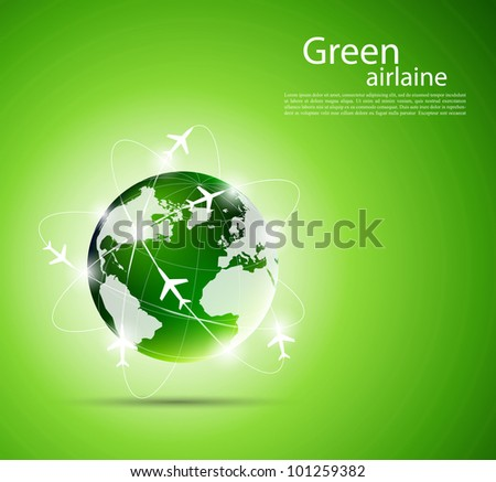 Bright green background with travel concept - stock vector