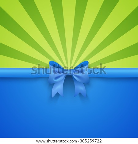 Bright green beam background with elegant blue gift bow and ribbon. Vector illustration for summer holiday design. Greeting card wallpaper for christmas, valentine day, birthday. - stock vector