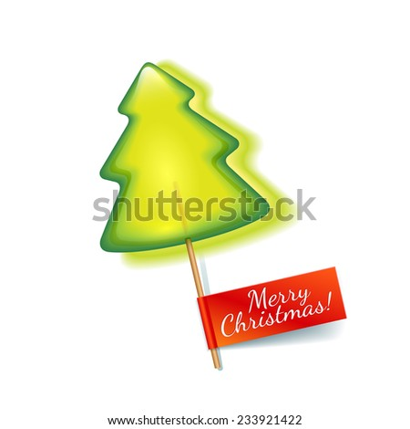Bright green christmas tree lollipop isolated on a white background with red label a Merry Christmas - stock vector